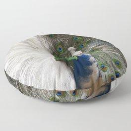 Blue White Peacock Floor Pillow