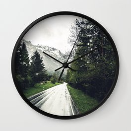 Down the Road - Mountains, Forest, Austria Wall Clock