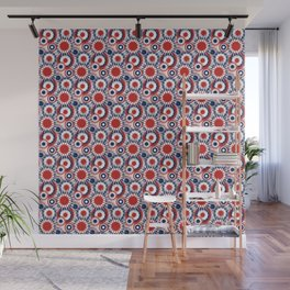 Patriotic Fireworks Pattern in Red White and Blue Wall Mural