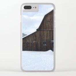 Barn on Christmas Day Clear iPhone Case