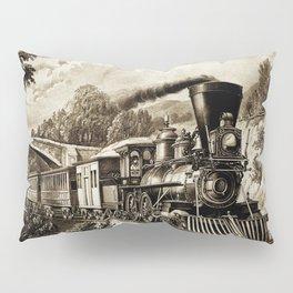 Vintage steam train illustration Pillow Sham