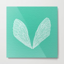Cicada Wings – Turquoise Metal Print