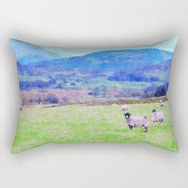 Nosy Sheep at Borrowdale, Lake District, UK Watercolor Painting Rectangular Pillow