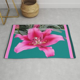 FUCHSIA PINK LILY TEAL ARTWORK Rug