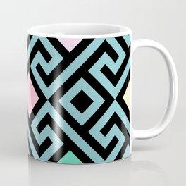 Geometric Miami Eighties Art Deco Print Pink and Pastel Blue Coffee Mug