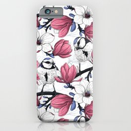 Pink magnolia and blue tit birds   iPhone Case