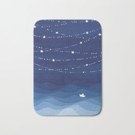 night sky, ocean painting Bath Mat