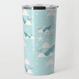 narwhal in ocean Travel Mug