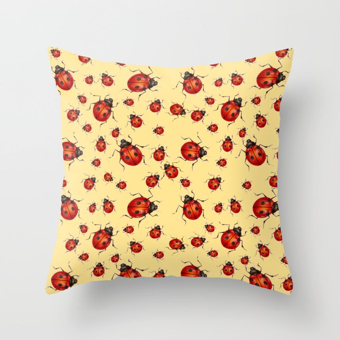 I Love Red Lady Bugs On Cream Color Throw Pillow