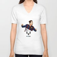 messi V-neck T-shirts featuring Lionel Messi by Just Agung