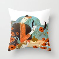 taurus Throw Pillows featuring Taurus by Leonard Peng