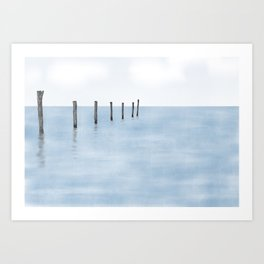 Abstract painted wooden pillars in the sea with reflections Art Print