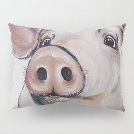 Pig Art, Cute Pig Art from original painting Pillow Sham