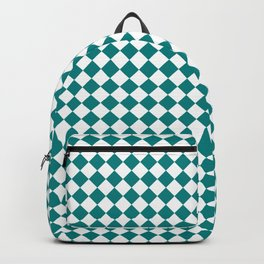 White and Teal Green Diamonds Backpack
