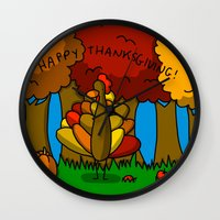 thanksgiving Wall Clocks featuring Happy Thanksgiving! by Veronica Nagorny