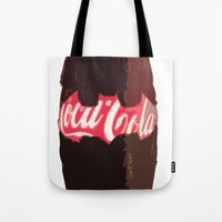 coke Tote Bags featuring Coke-Man by colleencunha