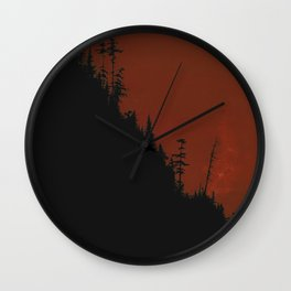 Into The Woods - Dark Forest - Red Wall Clock