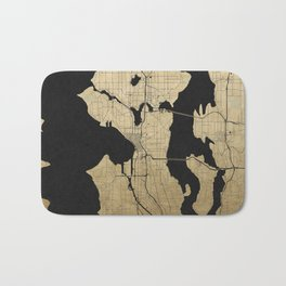 Seattle Black and Gold Street Map Bath Mat