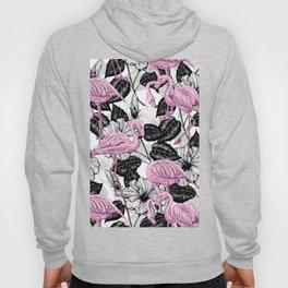 Flamingos and hibiscus flowers Hoody