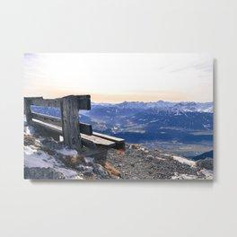 Mountain Bench Metal Print