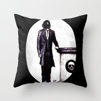 cyberpunk Throw Pillows featuring Life's Course You Flunk, Compute and Cyberpunk by Zombie Rust