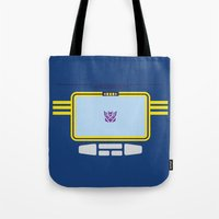 transformers Tote Bags featuring Soundwave Transformers Minimalist by Jamesy