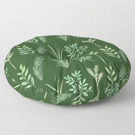 Bouquet of branches and leaves pattern,  Dark Green background Floor Pillow