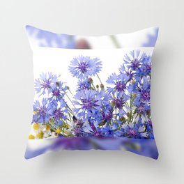 Cornflower and chamomile many flowers Throw Pillow
