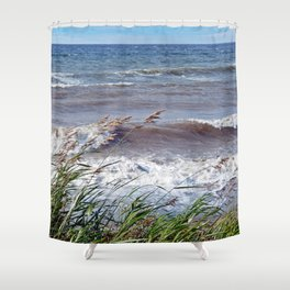 Waves Rolling up the Beach Shower Curtain