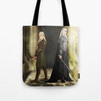 legolas Tote Bags featuring Legolas & Thranduil by rdjpwns