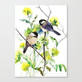 chickadees and Spring Blossom Canvas Print