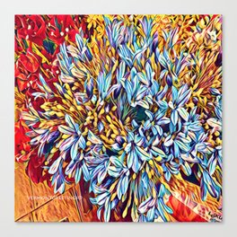 Blues Bouquet with Yellow and Red Canvas Print