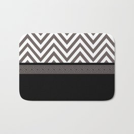 Modern Chevron Striped Pattern, Black, White, Grey Bath Mat