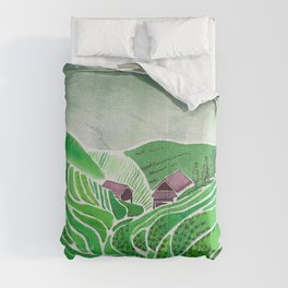 Terraced Rice Paddy Fields Comforters