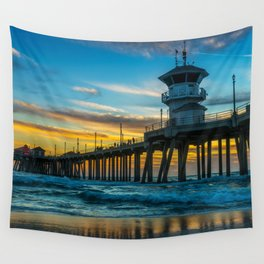 Winter Sunset at Huntington Beach Pier Wall Tapestry
