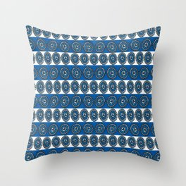 Blue Hearts Striped Throw Pillow