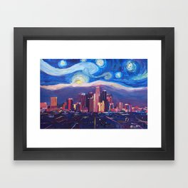 Starry Night in Los Angeles - Van Gogh Inspirations with Skyline and Mountains Framed Art Print