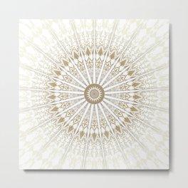 Khaki White Mandala Metal Print