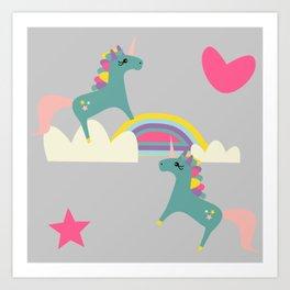 unicorn and rainbow gray Art Print