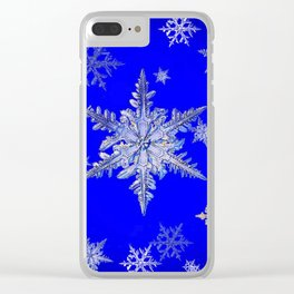 """MORE BLUE SNOW"" BLUE WINTER ART DESIGN Clear iPhone Case"