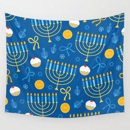 Hanukkah Menorah Pattern Wall Tapestry