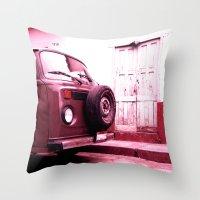 vw bus Throw Pillows featuring VW Bus 17B by Julia Aufschnaiter