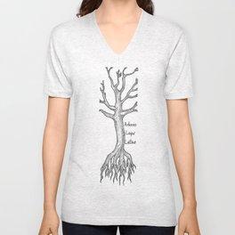 Arbores Loqui Latine Black and White Unisex V-Neck