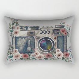 Camera with Summer Flowers Rectangular Pillow