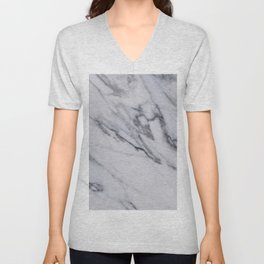 Marble - Black and White Gray Swirled Marble Design Unisex V-Neck