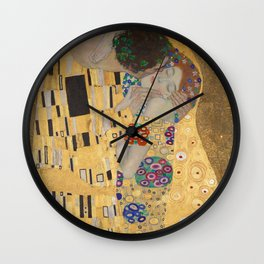 Gustav Klimt, The Kiss (Lovers), Detail Embrace, 1908 - Reproduction under Belvedere, Vienna, Creative Commons License CC BY-SA 4.0 Wall Clock