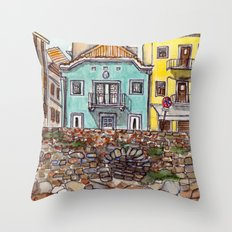 Buarcos Buildings, Portugal Throw Pillow