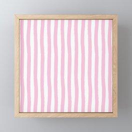 Pink and White Cabana Stripes Palm Beach Preppy Framed Mini Art Print