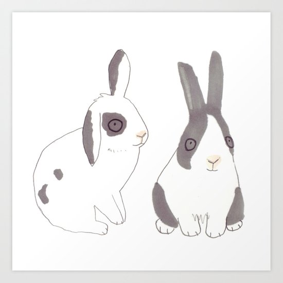 Rabbits and bunnies Art Print