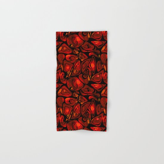 Abstract red black pattern stone texture Hand & Bath Towel